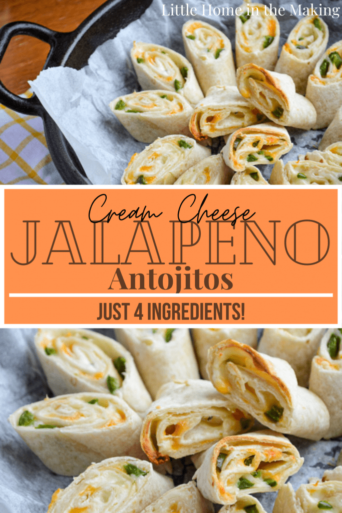 These delicious and cheesy Antijitos have just 4 ingredients and make a tasty appetizer for Mexican night, or a quick snack or lunch! Chopped Jalapeno adds a little spicy kick, but the cream cheese keeps the heat down and the yummy factor up!