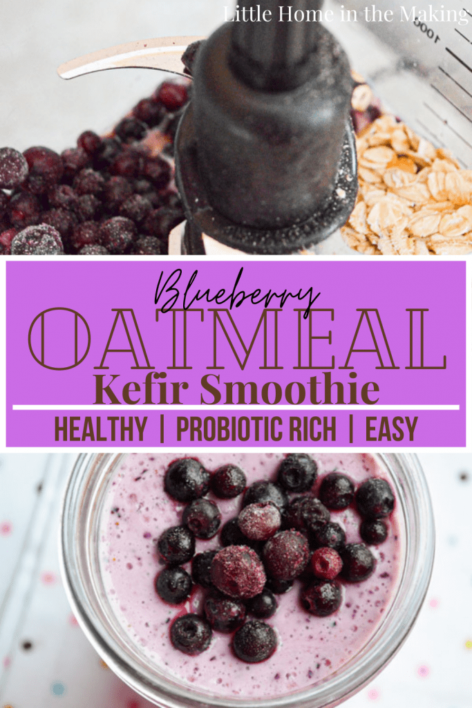 Frozen wild blueberries are blended with oats and kefir to create a delicious and healthy smoothie that is loaded with probiotics! You just have to try this Blueberry Oatmeal Kefir Smoothie now!