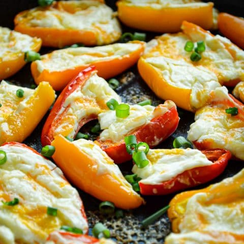 Don't you just love those little bags of mini rainbow peppers? Try this easy recipe for Cream Cheese Stuffed Mini Rainbow Peppers! Great Low Carb option!