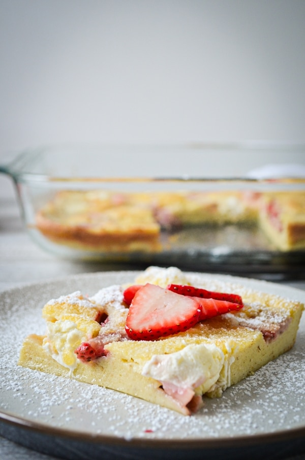 Have some sourdough discard to use up? Try this TASTY recipe for Strawberry Cream Cheese Sourdough Baked Pancake. You won't regret it!