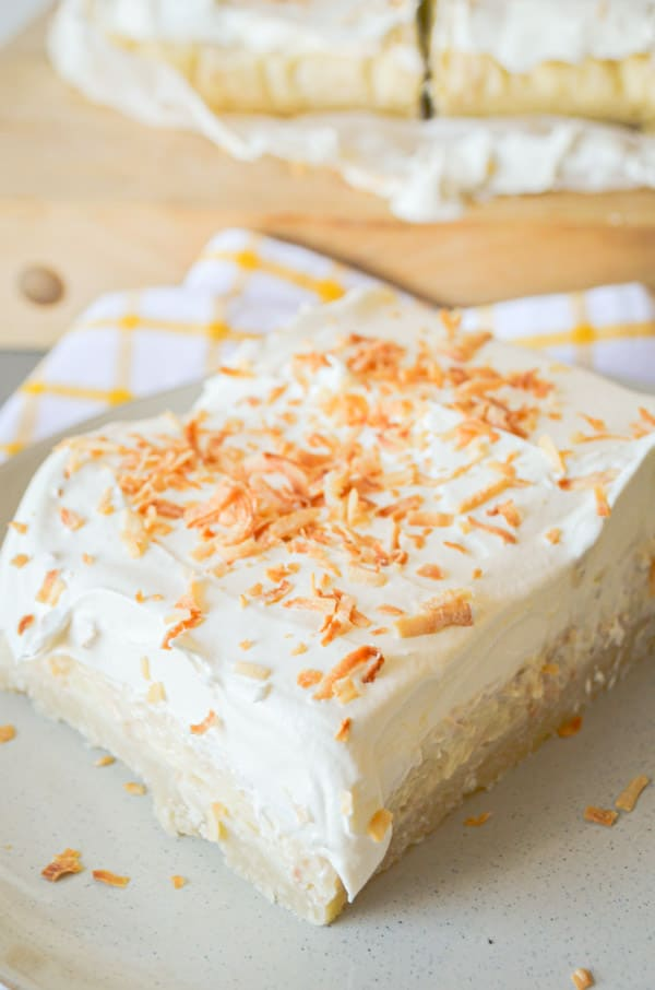 The delicious, creamy taste of Coconut Creme Pie, with the sweet, dense, buttery texture of shortbread. Coconut Cream Shortbread Bars are a MUST TRY recipe!