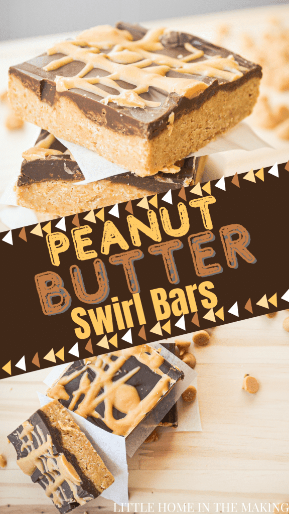 Two frames. The top frame is a close up of a peanut butter bar with a peanut butter swirl. The bottom is the same, but a birds eye view. The text reads: Peanut Butter Swirl Bars.