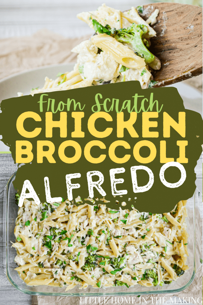 The top frame is a plate of chicken broccoli alfredo casserole being served by a wooden spoon. The bottom frame is an overhead shot of a chicken broccoli alfredo casserole. The text reads: From Scratch Chicken Broccoli Alfredo
