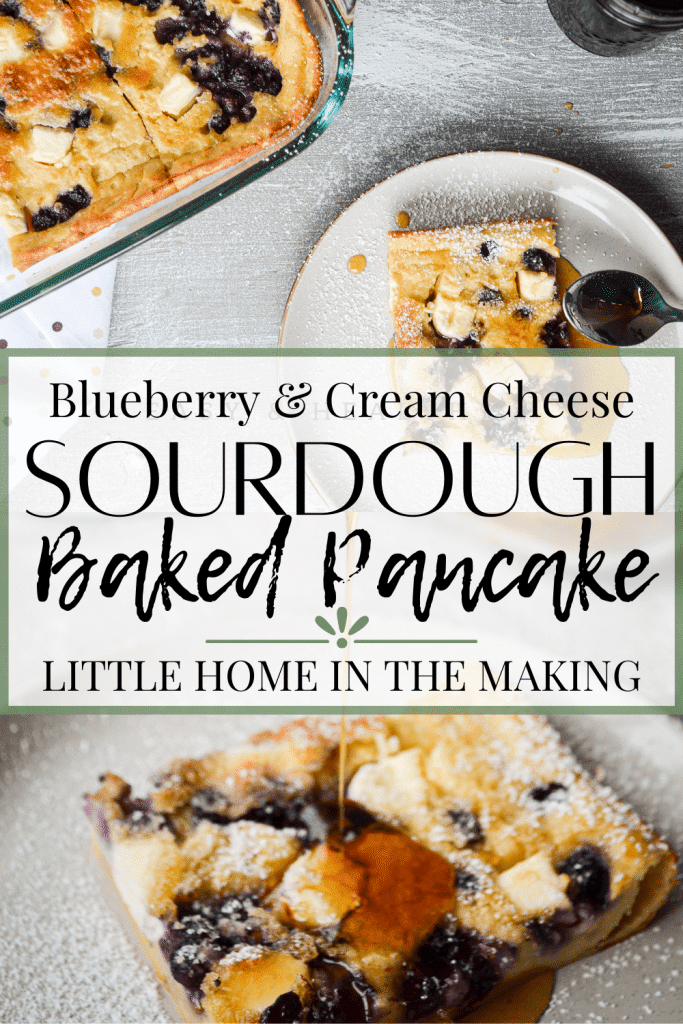 You are just going to LOVE this Blueberry Cream Cheese Sourdough Baked Pancake! This uses up a lot of sourdough discard, is full of protein, refined sugar free, and delicious!