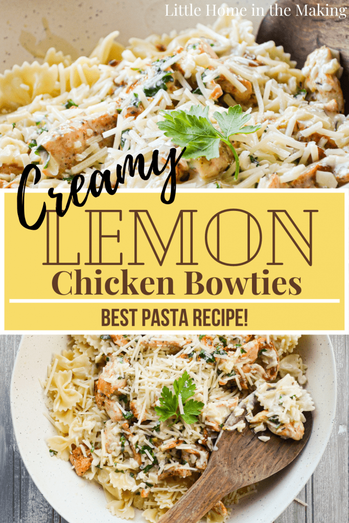 Creamy Lemon Chicken Bowties is THE BEST chicken and pasta recipe! You will want to serve this to company and is sure to become a new favorite in your home!