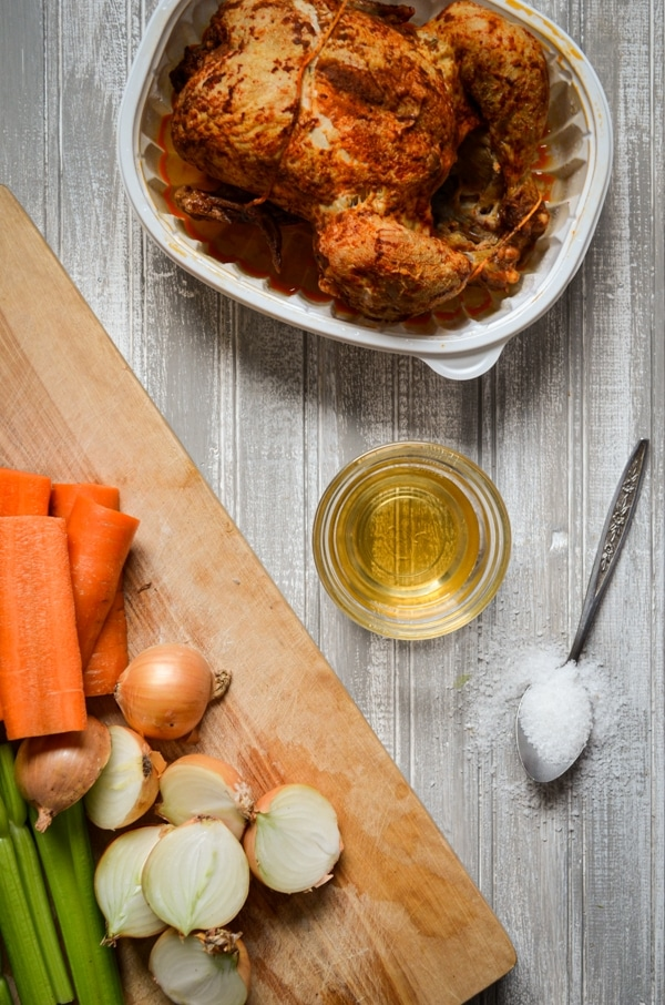 Instant Pot Bone Broth is the BEST way to use up leftover roasted chicken. Make this nutrient dense, delicious chicken bone broth in your Instant Pot for extra ease. Perfect for using in homemade soups.