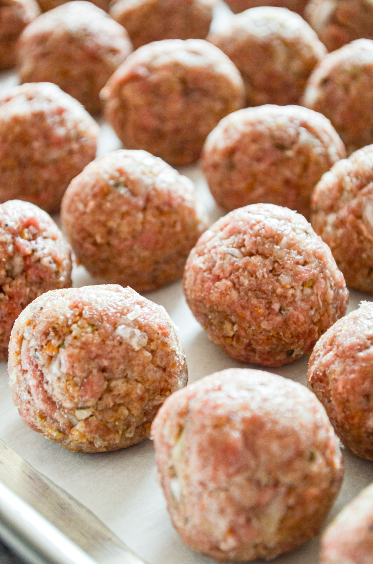 A tray full of meatballs.