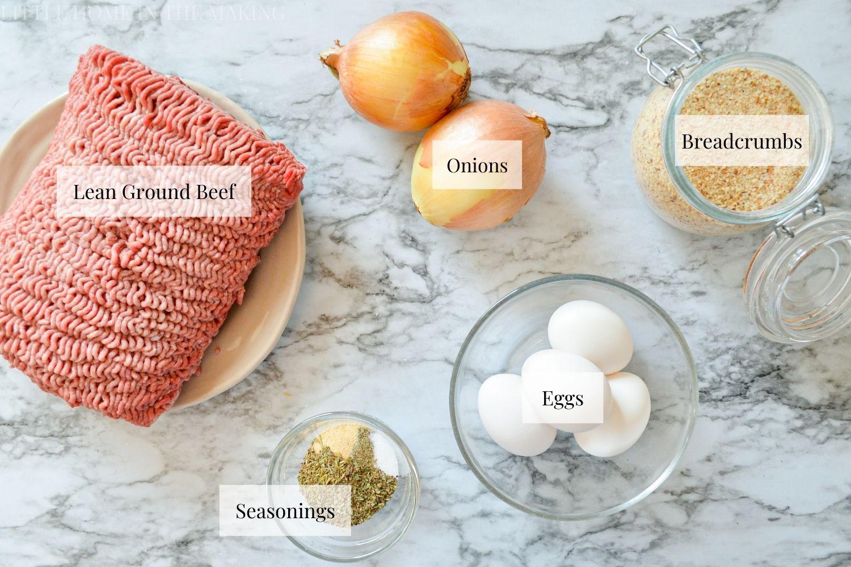 The Ingredients needed to make freezer meatballs.