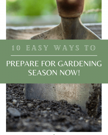 A shovel is plunged into a raised bed full of compost. The text reads: 10 Ways to Prepare for Gardening Season Now!