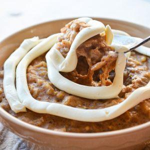 A bowl of cinnamon roll oatmeal.