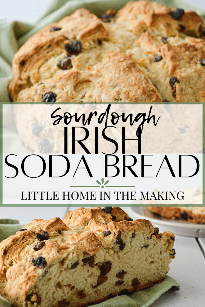 A loaf of crumbly bread, dotted with raisins. The text reads: Sourdough Irish Soda Bread.