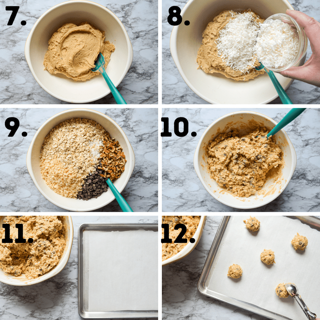 Steps 7-12 in making Buffalo Chip Cookies. See the post and recipe for full text instructions.