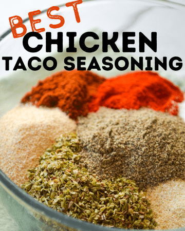 A bowl of various seasonings called for in Chicken Taco Seasoning. The text reads: Best Chicken Taco Seasoning