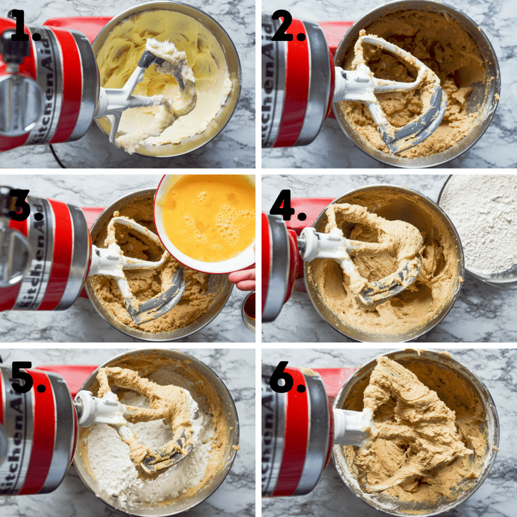 6 of the first steps in preparing Buffalo Chip Cookies; see post for full text recipe with text instructions