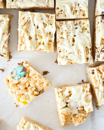 A top of view of easter rice krispie squares.