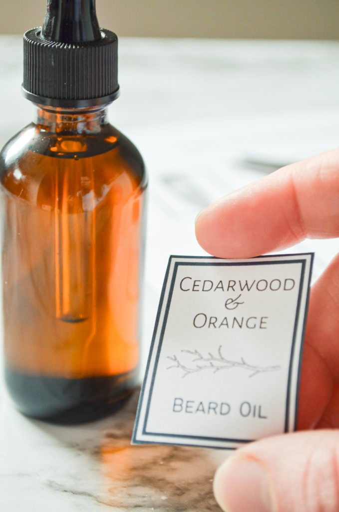A label, ready to go on an amber glass bottle for Father's Day Beard Oil.