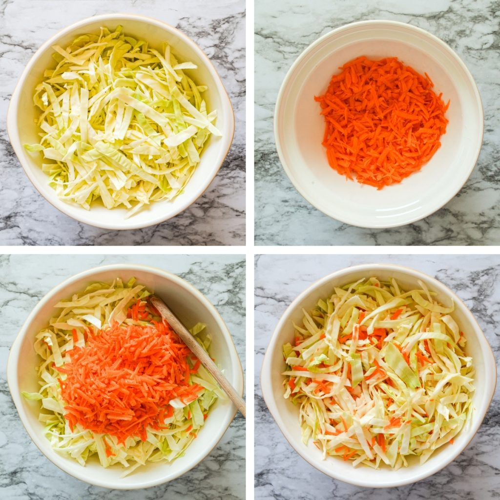 4 seperate frames. The first is shredded cabbage, the second shredded carrot. The third frame is the shredded carrot on top of the shredded cabbage, and the fourth is the two mixed together.