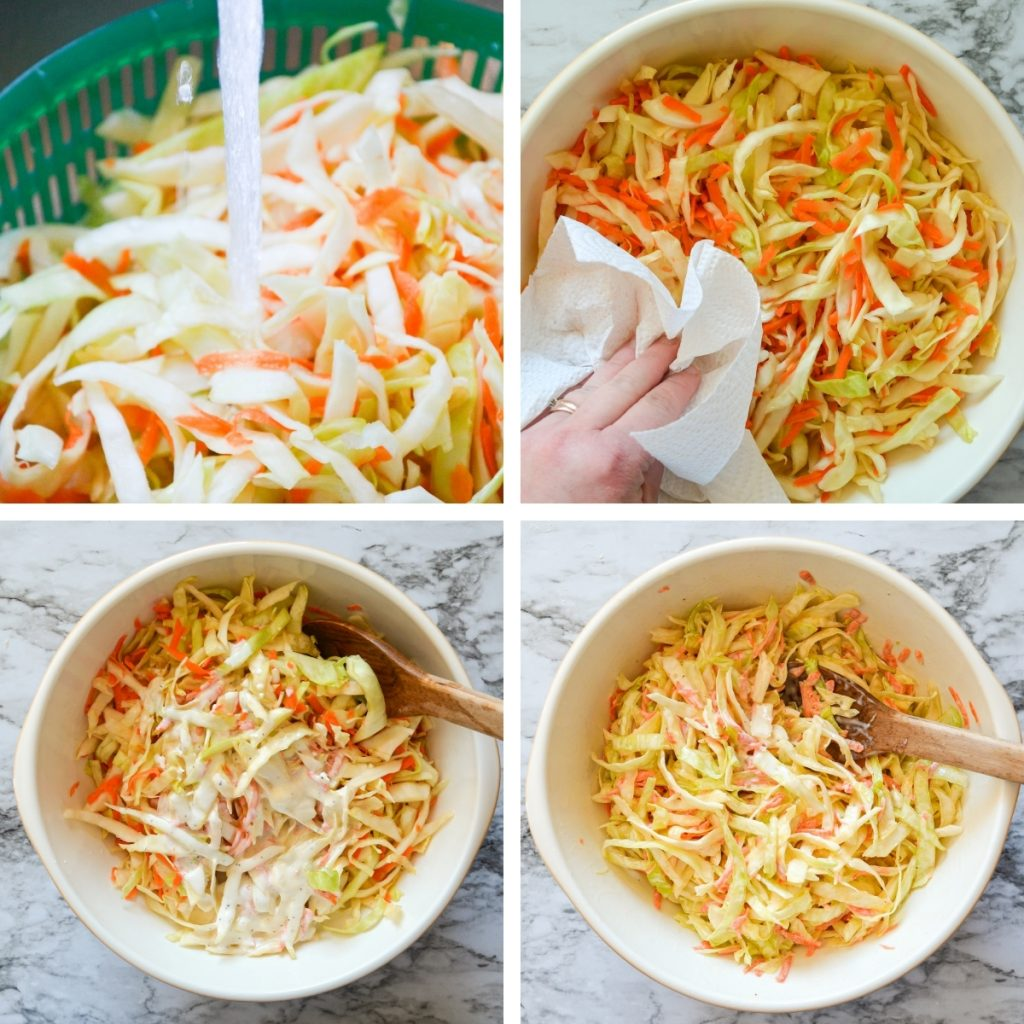 Four grids to show the rinsing process of salted cabbage. The first is the cabbage being rinsed off under the sink. The second is a large bowl being dabbed by paper towel. The third is dressing being added to the bowl. The fourth image is the dressing being tossed well to combine.