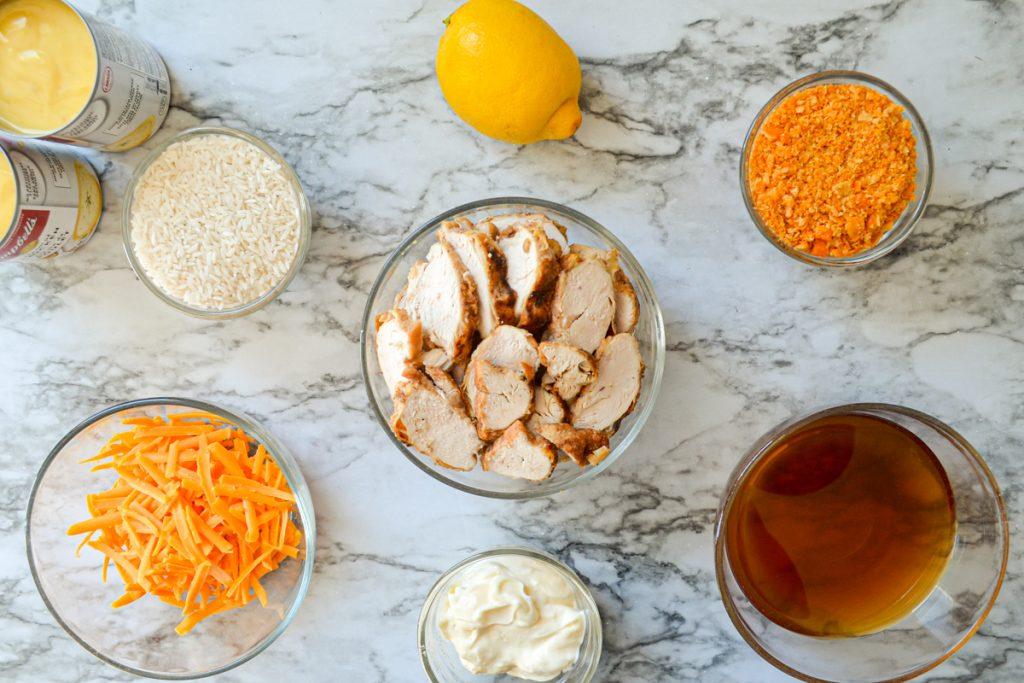 The ingredients needed to make chicken divine casserole.