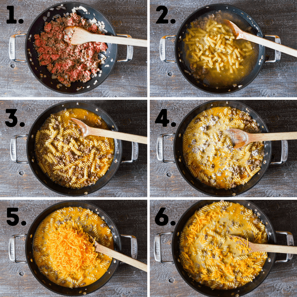 6 images of the process shots of making Grown up hamburger helper. See recipe for text explanations.