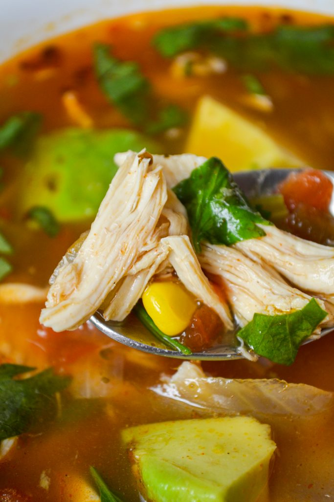 A close up of a spoonful of healthy mexican chicken soup. Chicken, cilantro, and corn are some of the key ingredients.