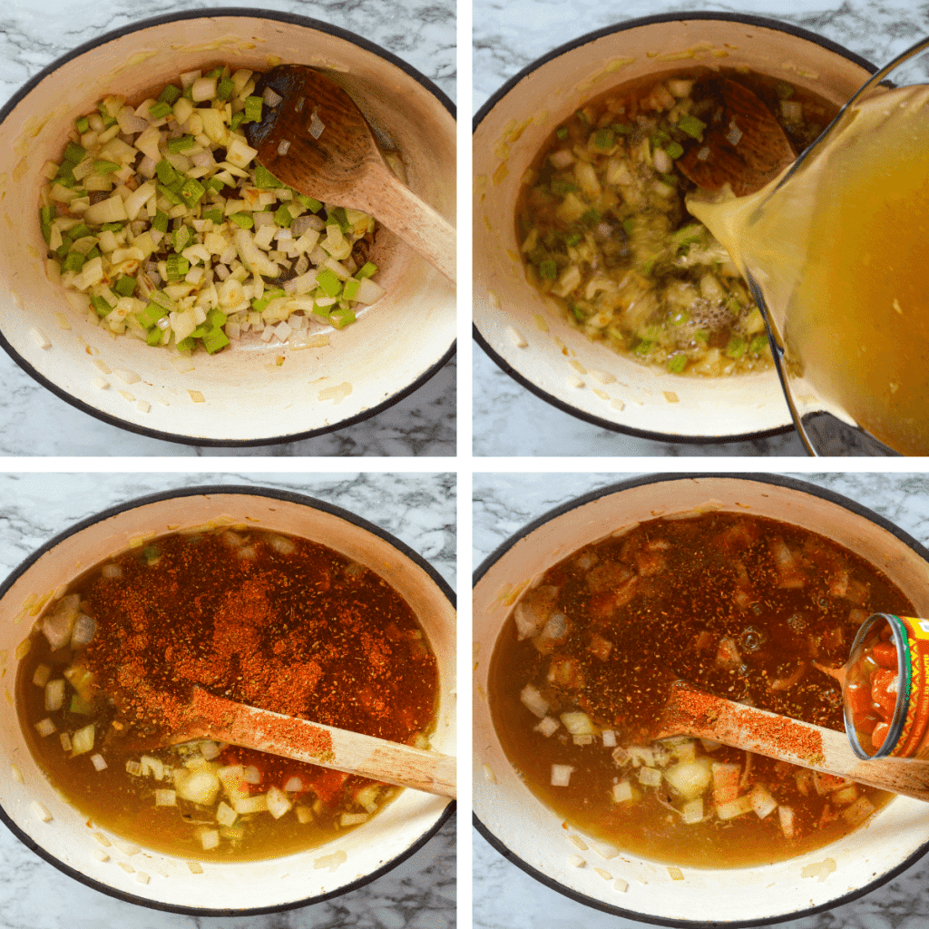 The first four steps to making Mexican chicken soup.