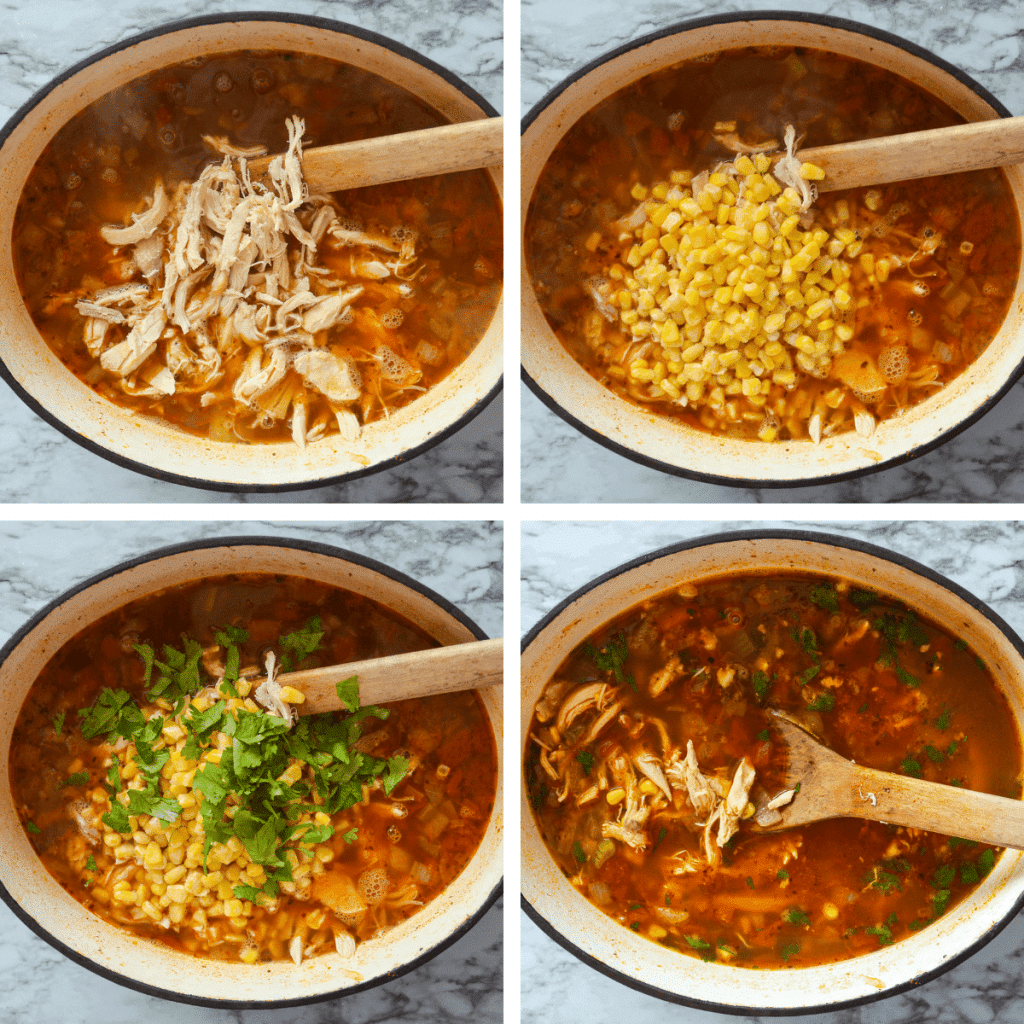 Steps 5-8 for making healthy Mexican chicken soup.