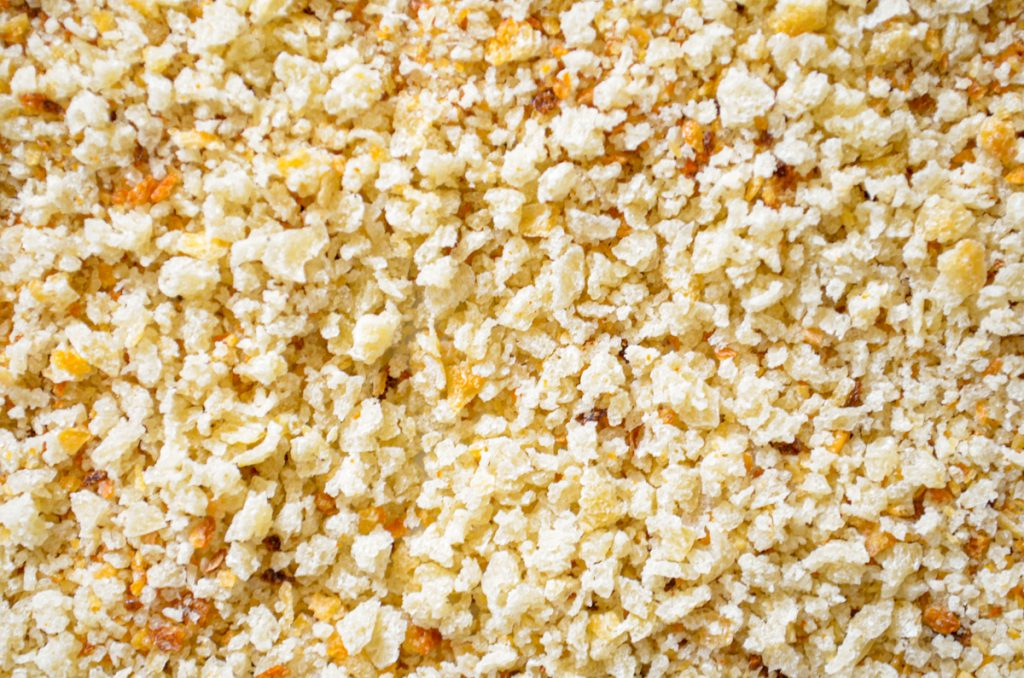 A close up of sourdough breadcrumbs.