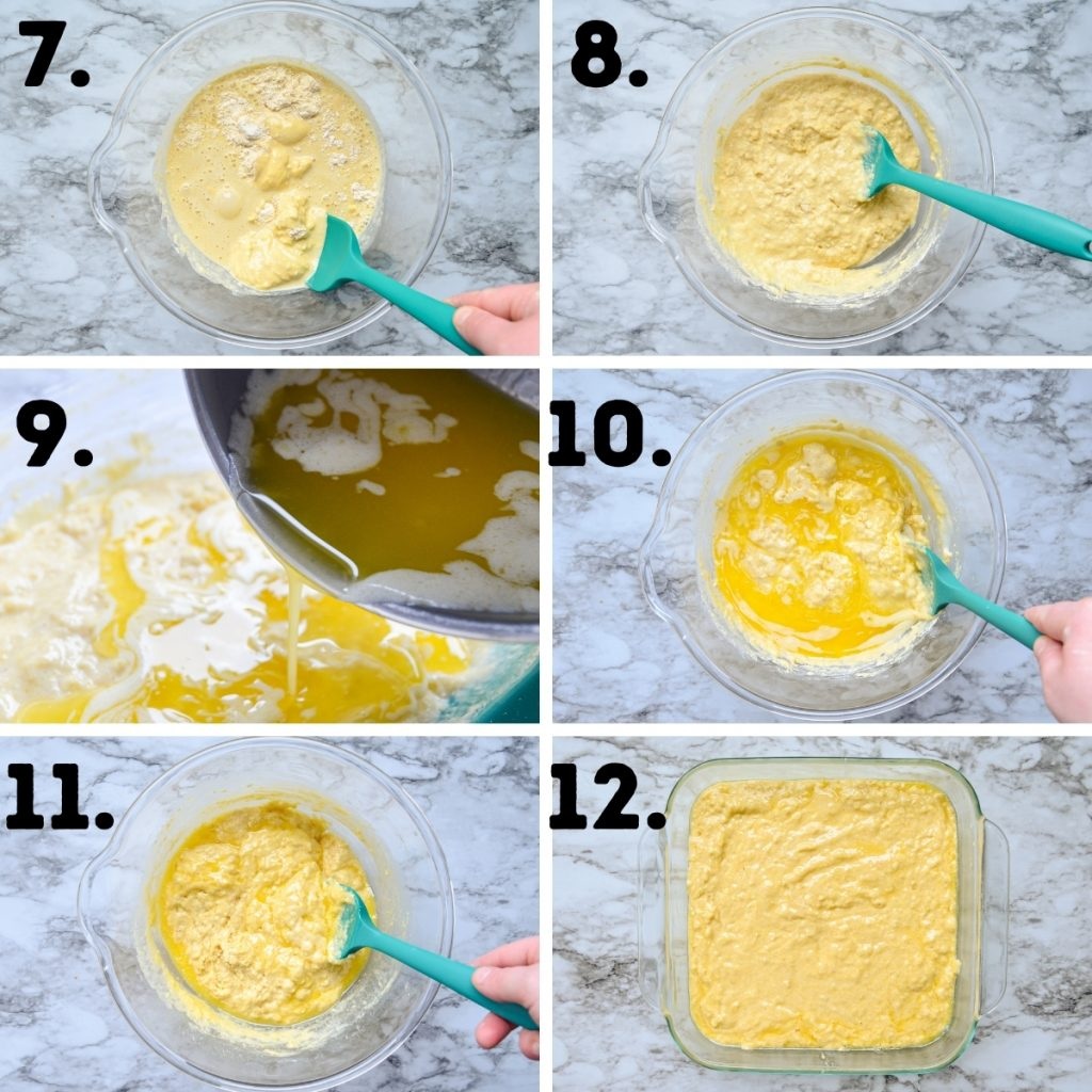 How to make sourdough discard buttermilk cornbread. See recipe for text instructions.