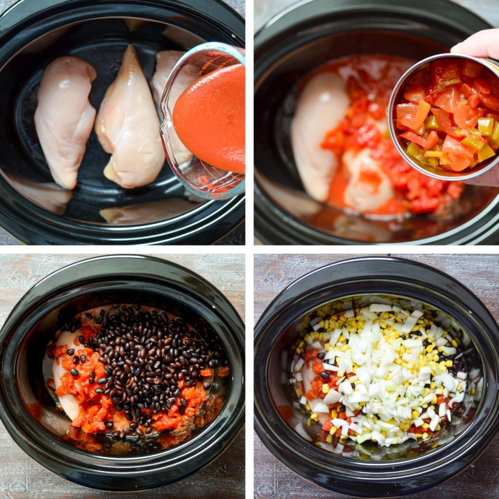 Four grids, detailing how to make crockpot chicken taco soup. See the recipe for full text instructions.