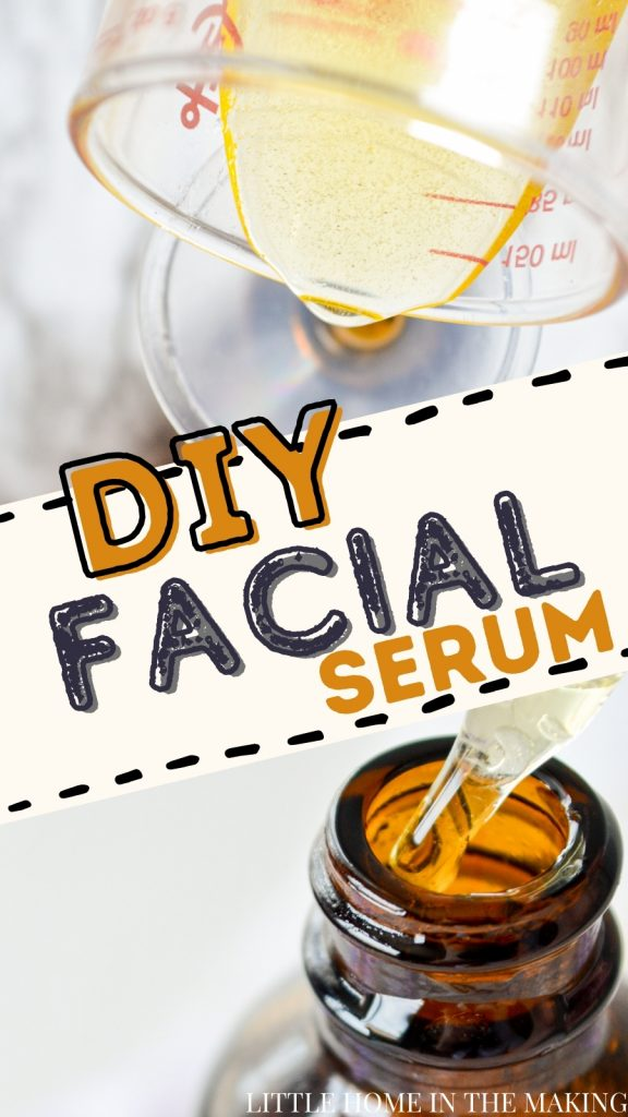The top frame is oil being poured into a small funnel. The bottom frame is a bottle with a dropper in it. The text reads: DIY Facial Serum
