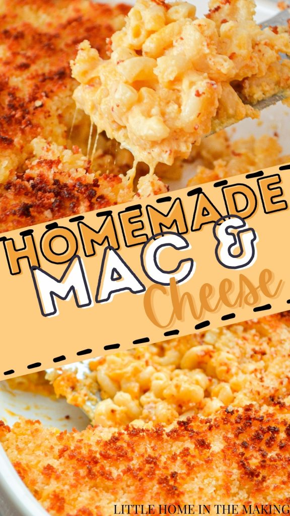 The top image is a close up of macaroni and cheese. The bottom is a close up of the baked casserole dish. The text reads: homemade mac and cheese.