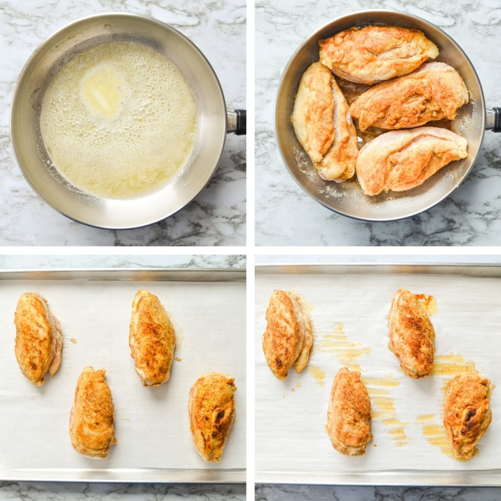 How to saute your breaded chicken in a saucepan, and then bake in the oven. See text recipe for details.