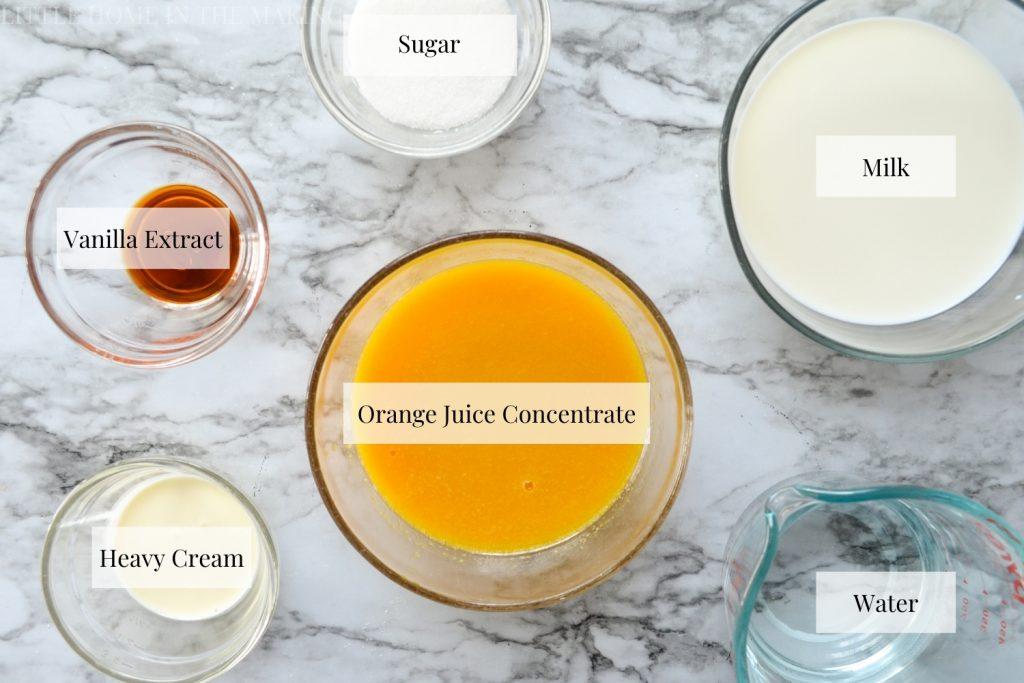 The ingredients needed to make copycat orange julius.
