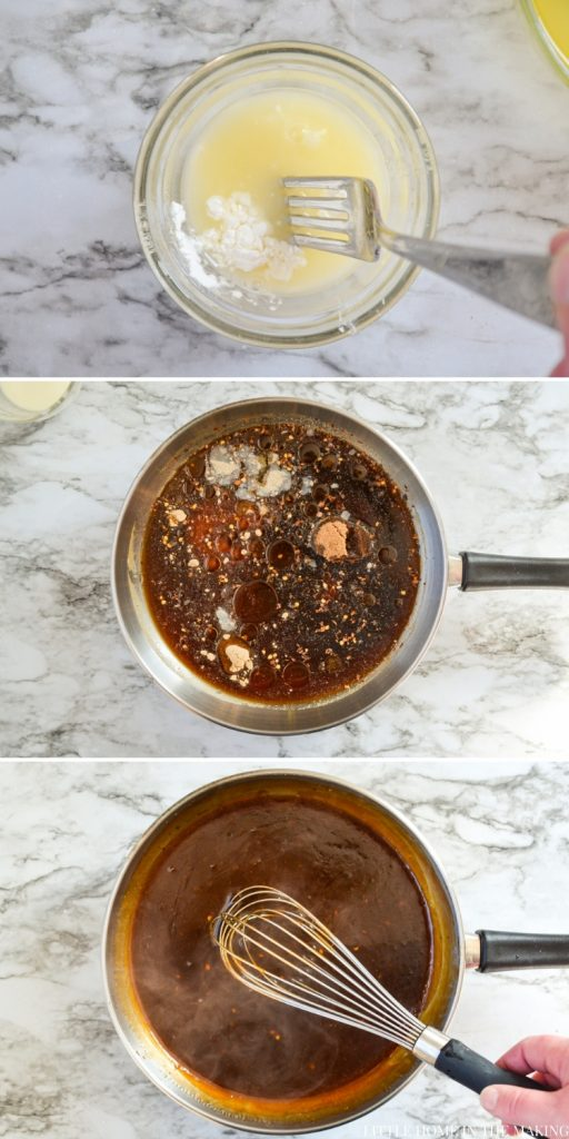 Images showing the various steps of making a sweet and sour sauce from scratch. See text recipe for more information.