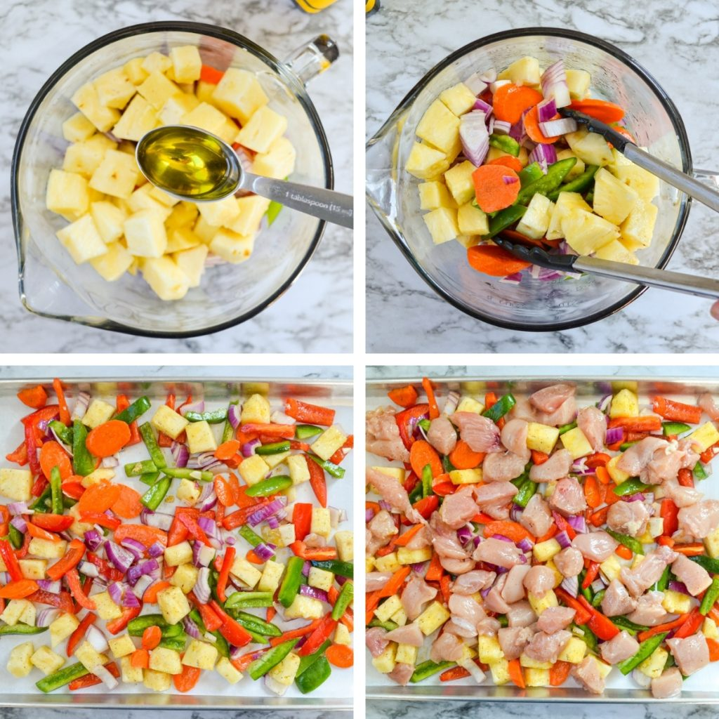 four grids, detailing the steps for making sheet pan sweet and sour chicken. See text recipe for more informatiom.