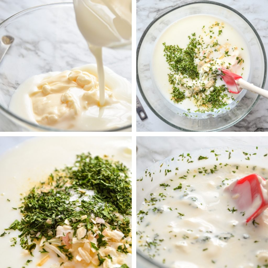 The steps for making your very own buttermilk ranch dressing from scratch.