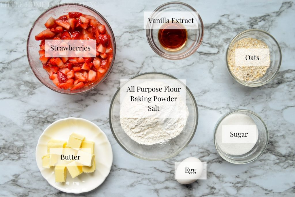 The ingredients needed to make strawberry oatmeal crumb bars.