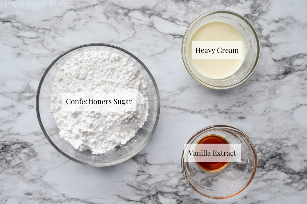 Ingredients needed to make a simple drizzle: confectioners sugar, heavy cream, and vanilla extract.