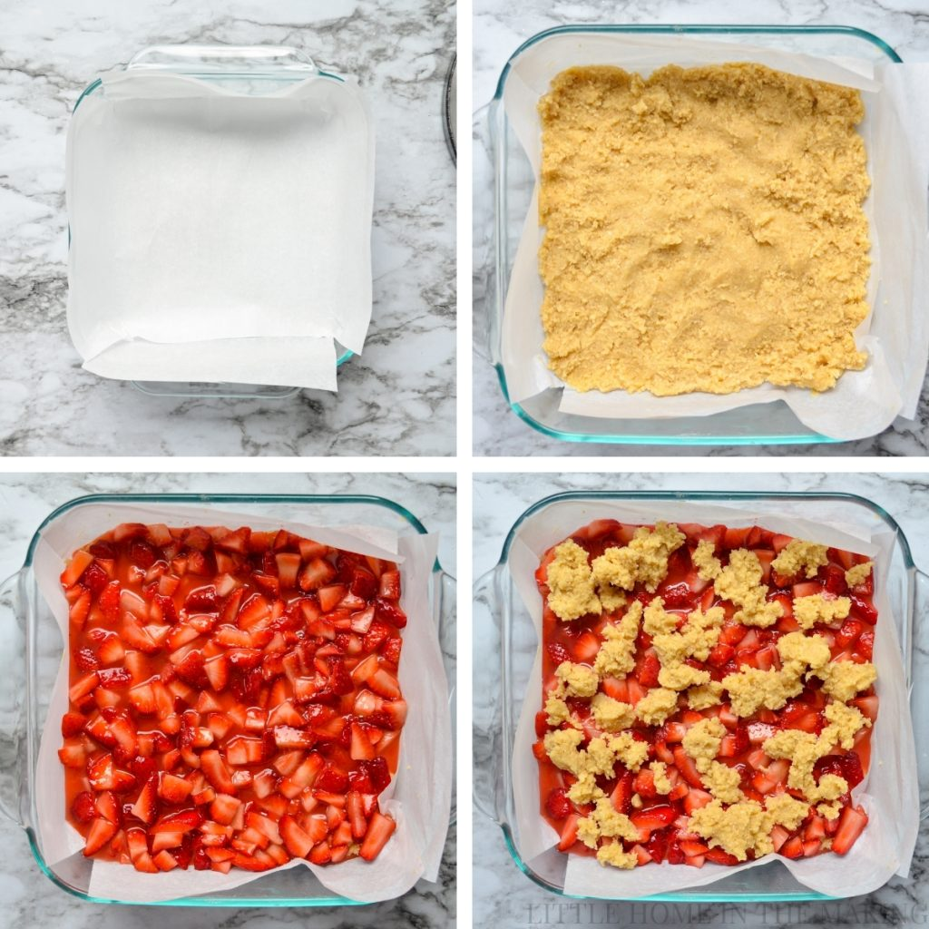 How to layer strawberry oatmeal crumb bars.
