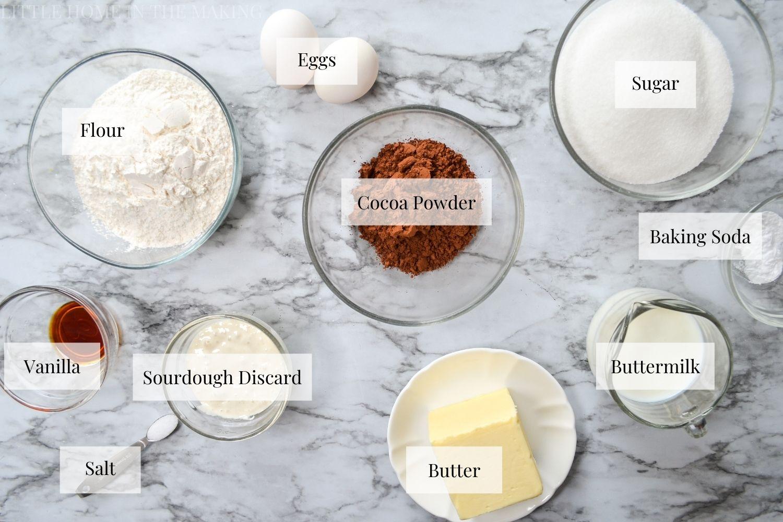 Ingredients needed to make Sourdough Texas Sheet Cake