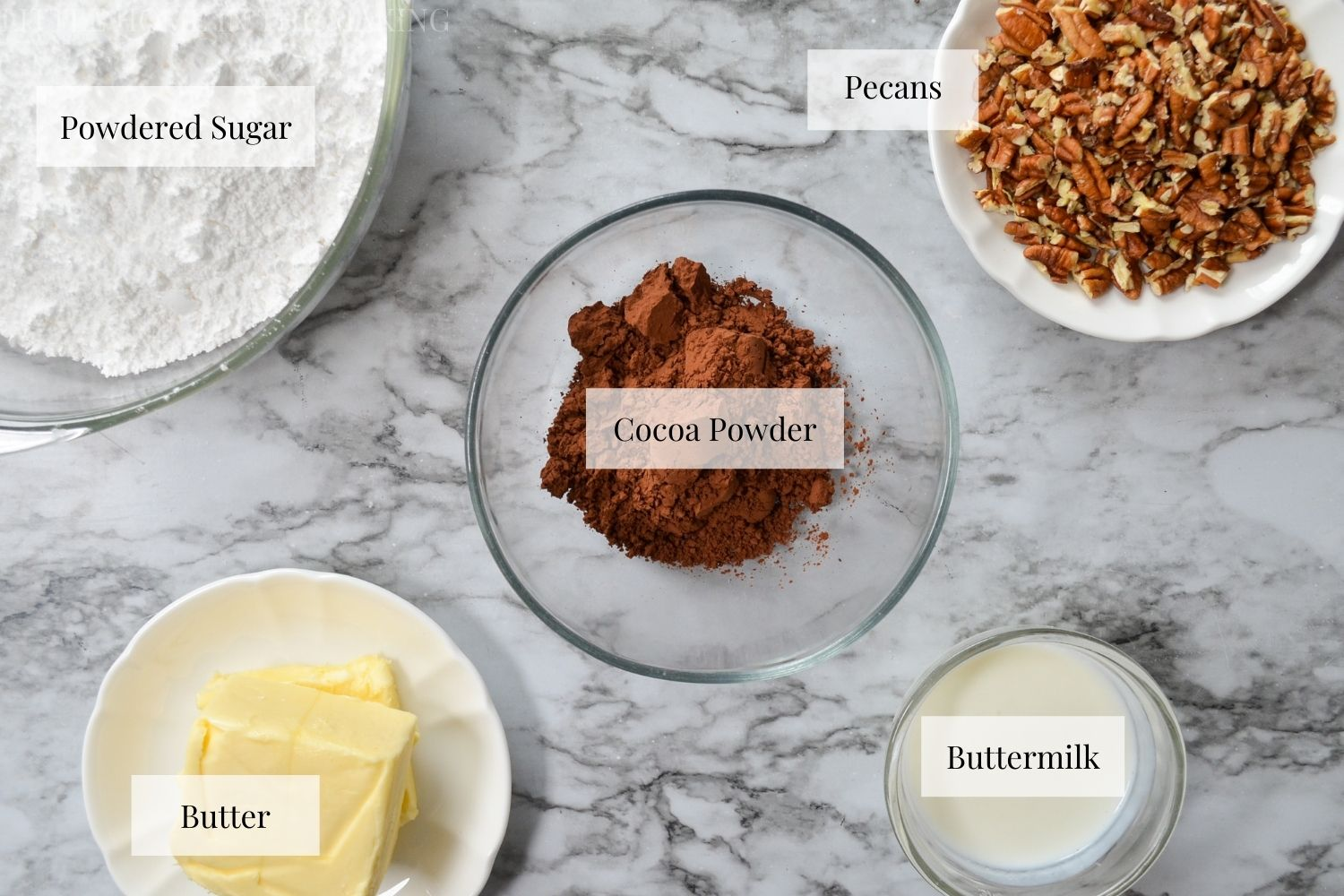 The ingredients needed to make Texas Sheet Cake frosting.