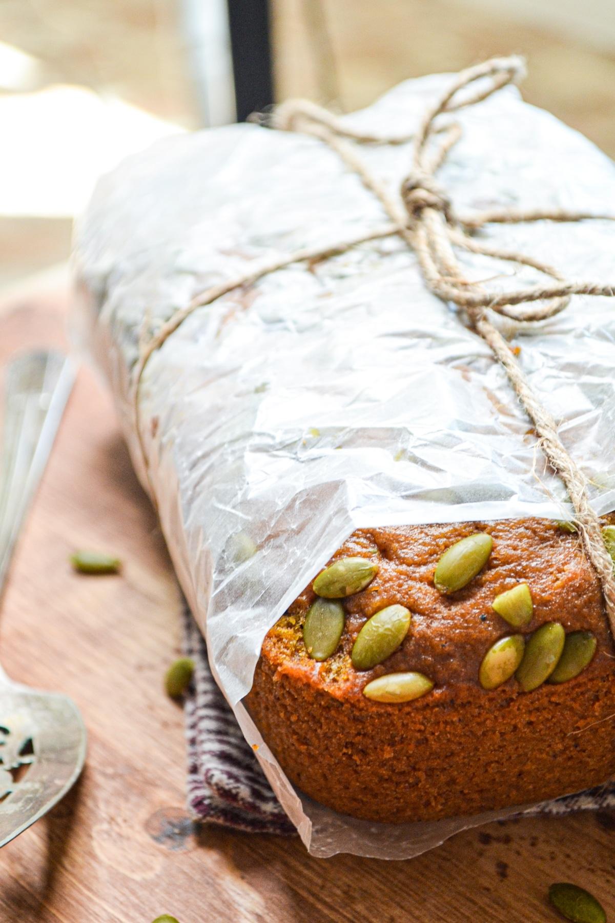 A loaf of homemade pumpkin bread.