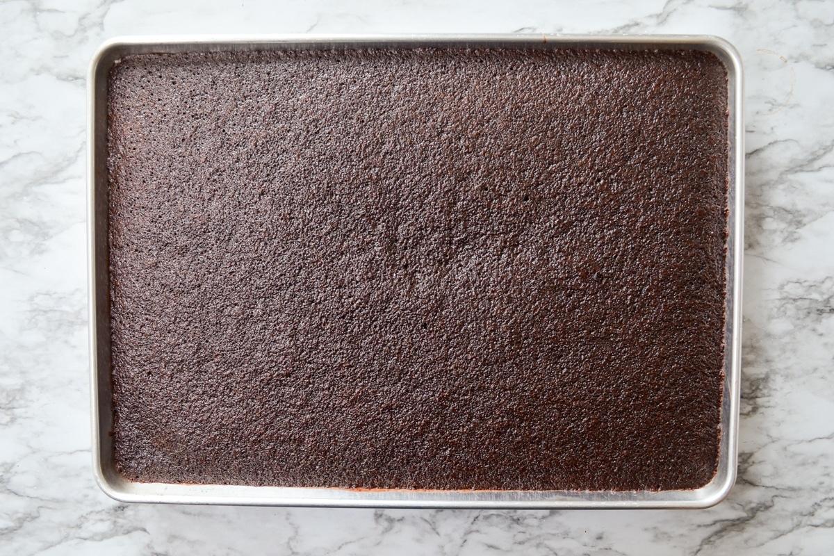 A baked Texas Sheet Cake.