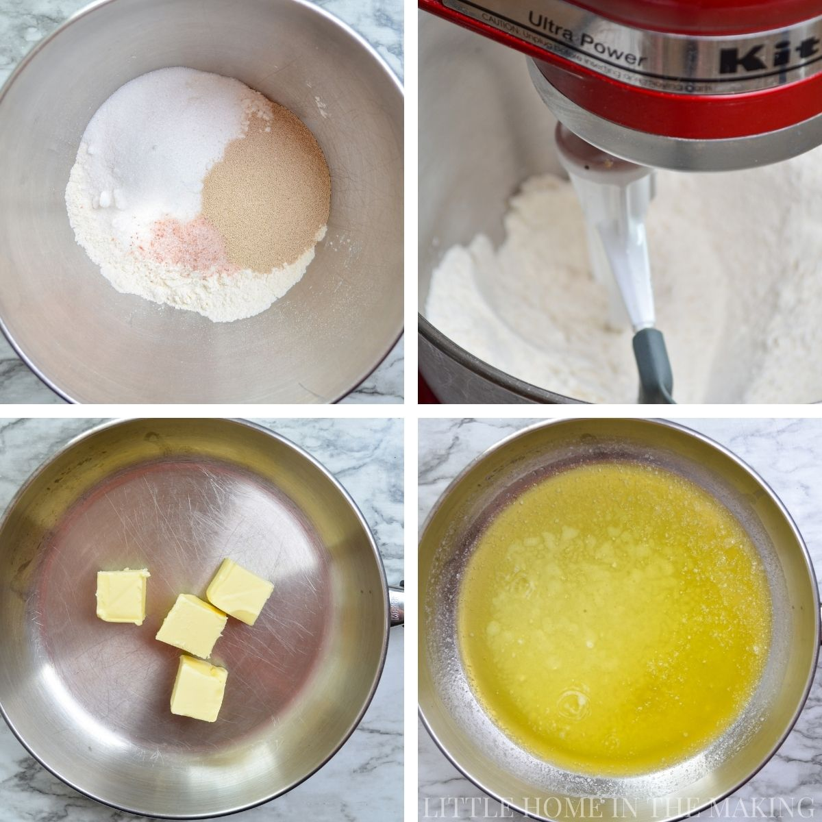 How to make homemade rolls in a stand mixer: mixing the dry ingredients and melting butter.